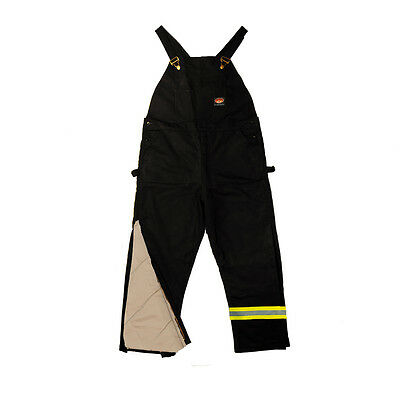Rasco FR Flame Resistant Black Heavy Quilted Insulated Bib Overalls W/ Reflectiv