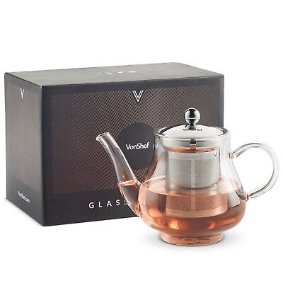 VonShef 750ml Stainless Steel Glass Infusion Tea Pot Tea Leaf Infuser Teapot