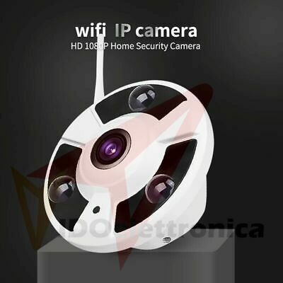 Telecamera Ip Camera Wi Fi 360 Led Infrarossi Sensore Movimento Panoramica