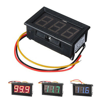 DC 3 Wire LED Digital Display Panel Volt Meter Voltage Voltmeter Car Motor BT
