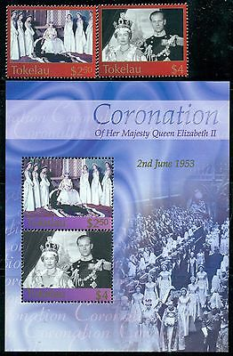 TOKELAU Sc320-22 SG348-49,MS350 MNH 2003 QEII Coronation set of 2+MS SCV$20