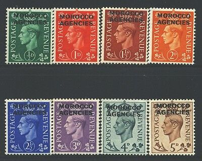 MOROCCO AGENCIES Sc246-53 SG77-84 MH 1949 KGVI short set of 8 to 5p SCV$21