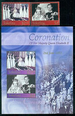 TOKELAU Sc320-22 SG348-49,MS350 Used 2003 QEII Coronation set of 2+MS SCV$20