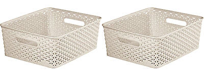 2x Curver Nestable Rattan Basket Small Storage Plastic Wicker Tray 8L - Cream