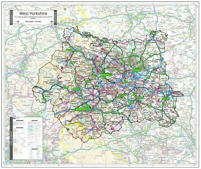 West Yorkshire County Wall Map - County Map Of West Yorkshire
