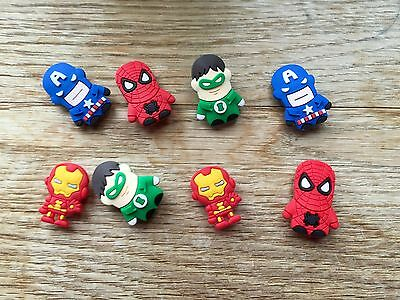 8 Cute Superhero Charms  Spiderman Iron Man Others Jibbitz Croc Shoes