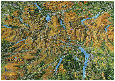 Lake District Map - Flat Map Of The Lake District. A2 Size Laminated Edition