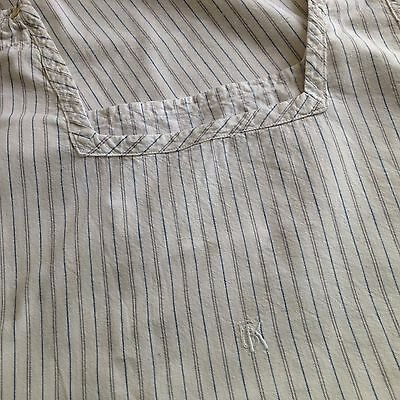 Vintage/antique French Night Dress - Blue & Grey Striped Nightdress - Monogram
