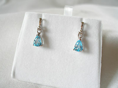1.81 Ct. Blue Topaz & Diamond  10k White Gold Dangle Earrings