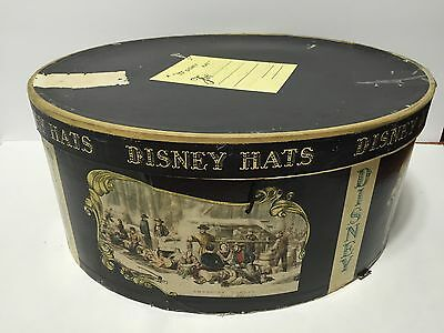 Vintage Mr. Disney Oval Shaped Hat Box Carrying Storage Case Currier & Ives GUC!