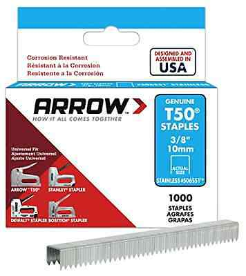 Arrow Fastener 506SS1 Genuine T50 Stainless Steel 3/8-Inch Staples 1000-Pack