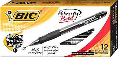 BIC Velocity Bold Ball Pen Bold Point (1.6mm) Black 12-Count