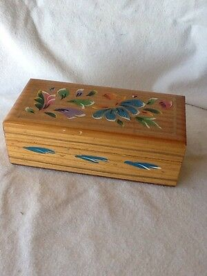 "Vintage Mexican Hand Painted Floral Wooden Box 7"" x 2.5"" x  3.5"" Nice! 1960's"