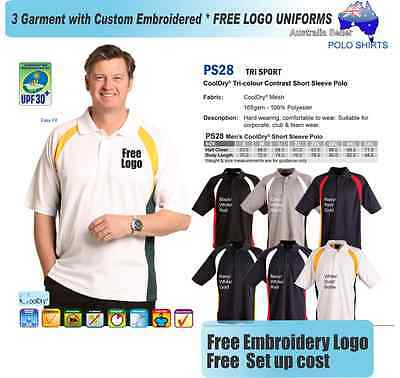 3 Custom Team  Polo shirts with Your Embroidered * FREE YOUR  LOGO UNIFORMS *