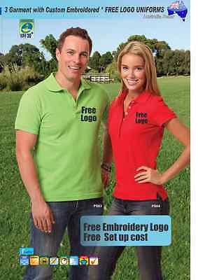 3 Custom Work Polo shirts with Your Embroidered  FREE  LOGO UNIFORMS  GOLF TEAM