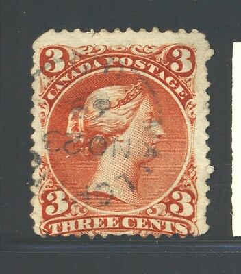 """CANADA Sc25 SG58 Used 1868 3c red QVIC Large Queen Issue """"Mallorytown"""" SCV$40"""