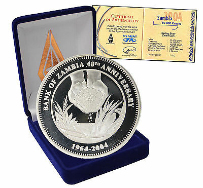 Zambia 50,000 (50000) Kwacha, 33.63 g Silver Proof Coin, 2004, 40th Bank Anniv.