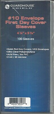 "100 New BCW 2-mil #10 Business Envelope Poly Sleeves 4-1/4"" x 9-5/8"""