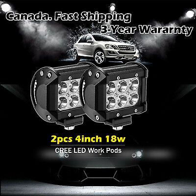 2X 4inch 18w Cree LED Work Light Truck Offroad ATV UTE Cube Pods Jeep 4WD ATV 3