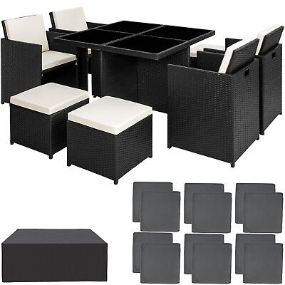 Ensemble Salon de jardin ALU résine tressée poly rotin chaise table set noir
