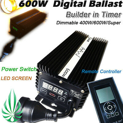 10x Hydroponics 600W HPS/MH Dimmable Digital Ballast Build in Timer As Solis Tek