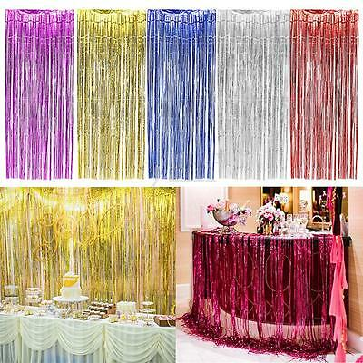 Shimmer Fringe Foil Tinsel Curtain Window Backdrop Blinds Wedding Birthday Party