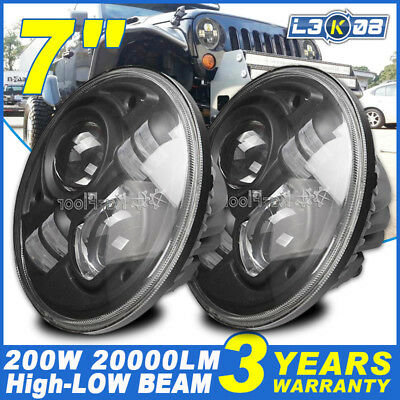 2X 7INCH H4 200W CREE LED Driving Headlight Hi-Low Beam For Jeep 6014 6015 6016