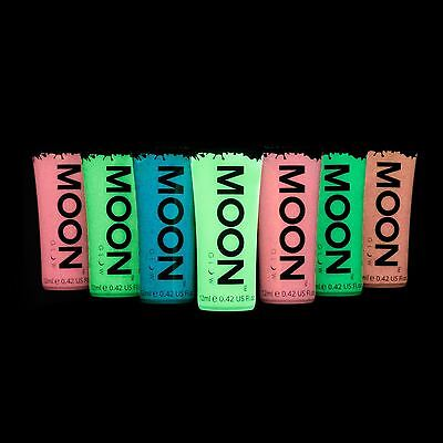 Moon Glow 12ml Glow in the Dark Face & Body Paint - Set of 7 - Inc UV Keyring!