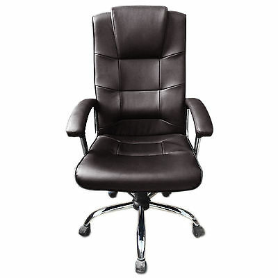 Brown Office Chair Business Faux Leather swivel executive computer P37