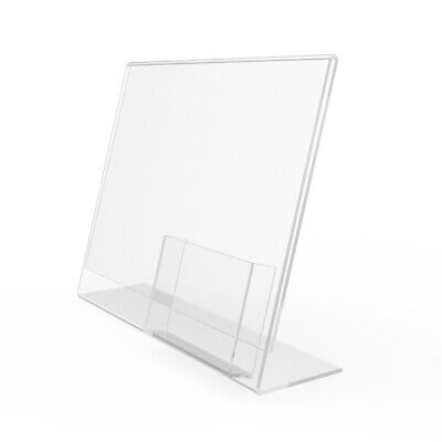Plexiglass Lucite Clear Acrylic Slanted Sign Holder with Brochure Holder 20043