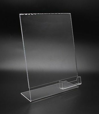 Lucite Plexiglass Clear Acrylic Slanted Sign Holder with Brochure Holder 20047