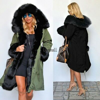 2016 Women Warm Winter Faux Fur Hooded Parka Coat Overcoat Long Jacket Outwear P