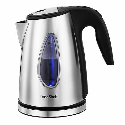 VonShef 2200W 1.7 Litre Brushed Stainless Steel Cordless Electric Jug Kettle