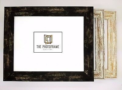New Distressed Shabby Chic Wood Effect Photo Frames Black / White / Walnut A1/a2