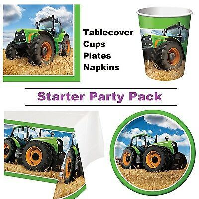 Tractor Time 8-48 Guest Starter Party Pack - Tablecover | Cup | Plate | Napkin
