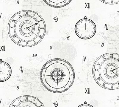 New Arthouse Metallic Silver Timeless Clock Compass Pattern Wallpaper 617201