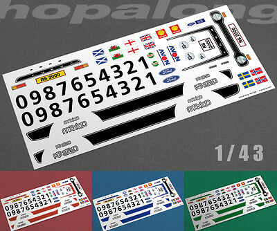 """Scalextric/Slot/Diecast Car 1/43 Scale """"RS2000"""" Waterslide Decals"""