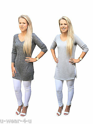 LADIES GORGEOUS EX FAMOUS STORES SILVER//GREY LONG SLEEVE BOTTOM LAYER TOP M/&5 MS