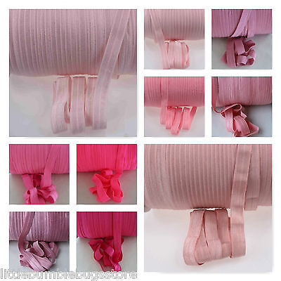 Foe 5/8 Fold Over Elastic By 1, 2 & 5 Metre Lots - Solid Colours - Pink Tones 1