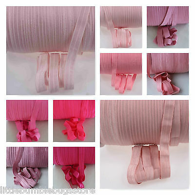Foe Fold Over Elastic - Solid Colours  By The Metre - Pink Tones 1