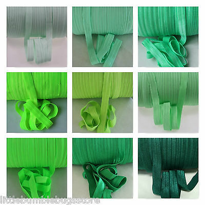 Foe 5/8 Fold Over Elastic By 1, 2, 5 & 10 Metre Lots - Solid Colours - Greens