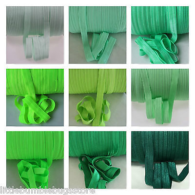 Wholesale Foe Fold Over Elastic - Solid Colours  By The Metre - Greens