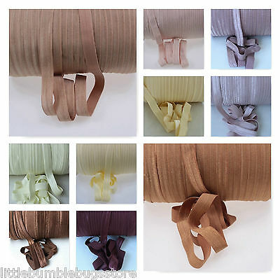 Foe 5/8 Fold Over Elastic By The Metre - Solid Colours - Creams & Browns