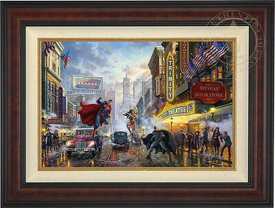 Thomas Kinkade DC BATMAN, SUPERMAN AND WONDER WOMAN 18 x 27 LE E/E Canvas Framed