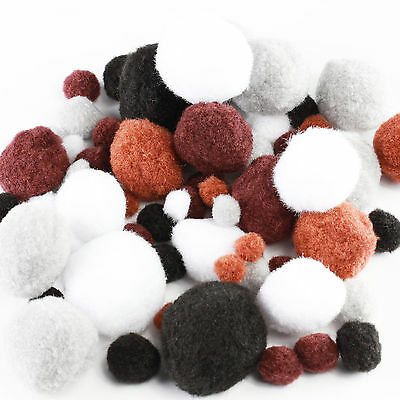 Animal Pom Poms X100 - Assorted Sizes and Colours, Brown White Black Grey