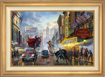 Thomas Kinkade Batman, Superman, Wonder Woman 24 x 36 LE G/P Canvas (Framed) DC
