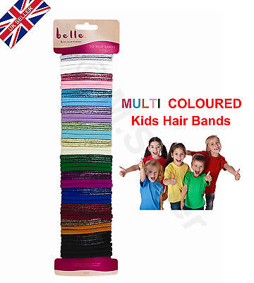 50x Hair Bobbles Bands Elastics Assorted Colours in plain & glitter effect-New