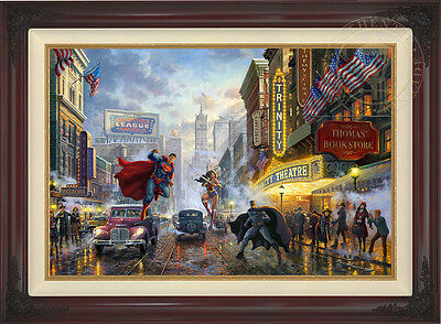 Thomas Kinkade DC BATMAN, SUPERMAN AND WONDER WOMAN 24 x 36 LE E/E Canvas Framed