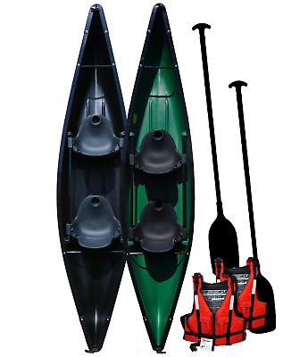 Two Person Canoe Lightweight - 12.8ft - Plastic Seats - Starter Pack - Riber