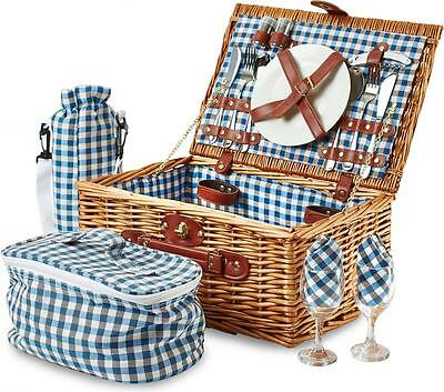 Andrew James 2 Person Luxury Wicker Basket Picnic Hamper with Blue Check